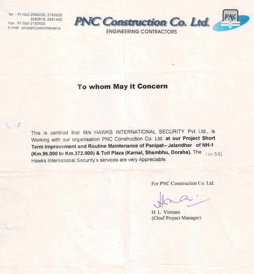Client testimonials hawks international security services pnc construction co 1betcityfo Choice Image
